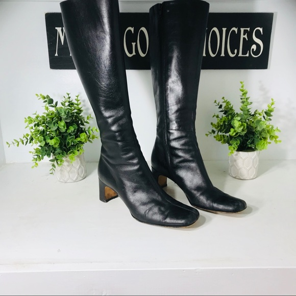 Italian Black Leather Tall  Boot Size 7